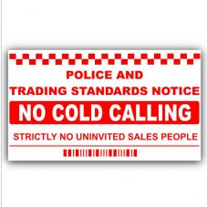 1 x No Cold Callers,Salesman Calling Warning House Sticker-150mmx87mm-EXTERNAL-Self Adhesive Vinyl Sign